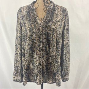 212 Collection Snake Print Ruffled Trimmed Blouse